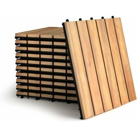 Juego de 10 Piezas Baldosas de Madera de 30x30 Centímetros Suelo de Madera de Acacia para Exteriro Terraza Jardín