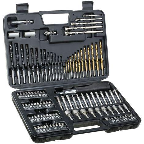 Juego de 109 Piezas para Atornillar y Taladrar 13 X Brocas para Madera 3-8mm, 13 X Brocas para metal 1.5-6.5mm, 5 X Brocas par