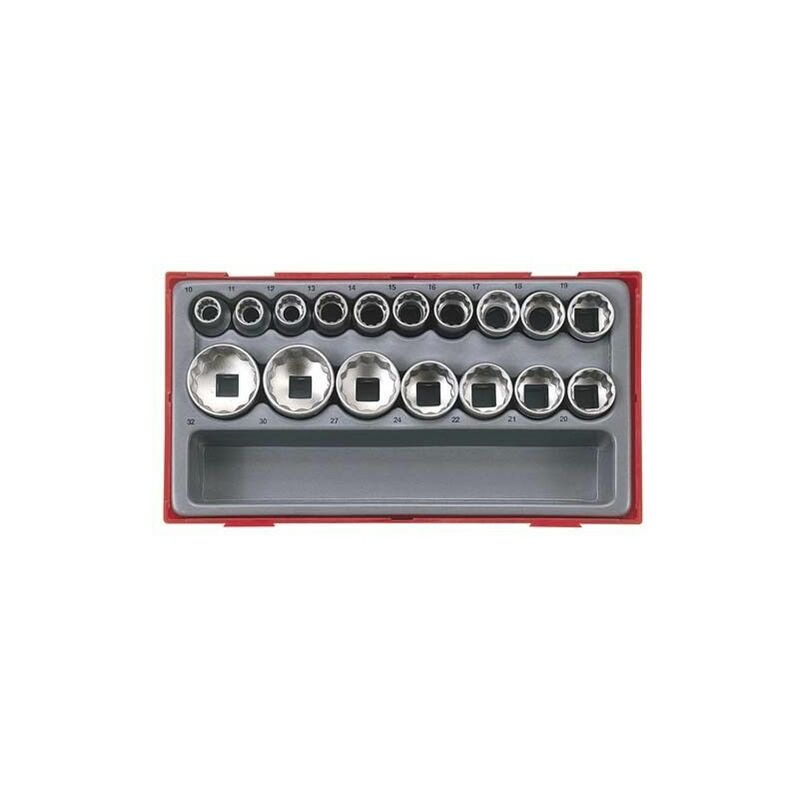 Teng Tools - Juego de 17 vasos 1/2' bihexagonales, serie regular, métricos TENGTOOLS TT1217