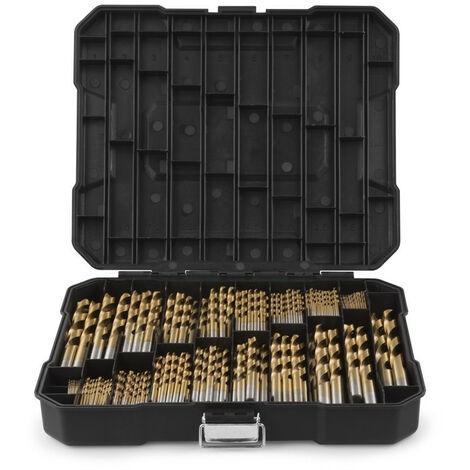 Juego de 170 Brocas para Taladro en Titanio HSS Para Madera, Albañilería, Plástico y Metal con Maletín