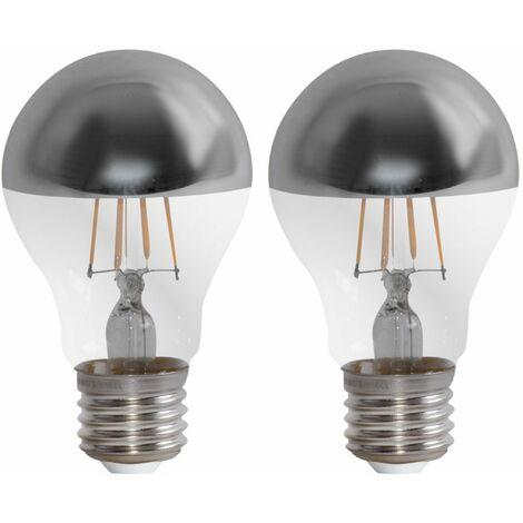 Juego de 2 4W bombillas de filamento LED Vintage E27 cabeza espejo lámpara 400 lúmenes