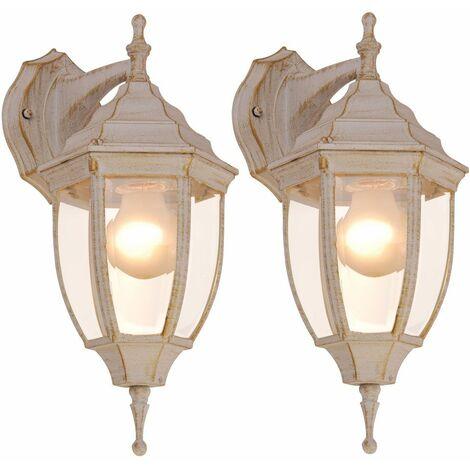Juego de 2 apliques de iluminación de fachadas puerta de oro blanco de aluminio patinado IP44 iluminación al aire libre