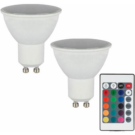 Juego de 2 bombillas LED RGB de 3,5 vatios con cambio de color, lámpara de base GU10  Globo 106752-2