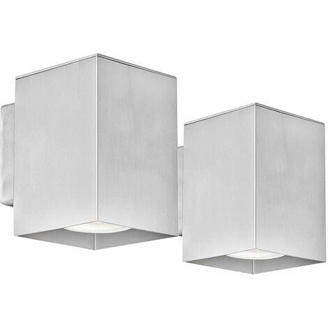 Juego de 2 colores RGB LED de luces de la pared casa cambiador de fachadas Spotlight Luces al aire libre de aluminio Downspot