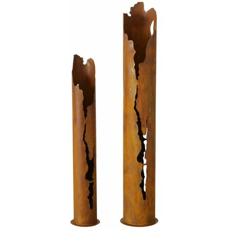 Juego de 2 cuencos para macetas para exteriores, columna de jardín vintage, pátina marrón, decoración de árboles