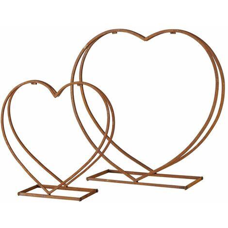 """main image of """"Juego de 2 estantes estufa chimenea fuego almacenamiento de madera hierro acero inoxidable diseño de corazón soporte de decoración"""""""