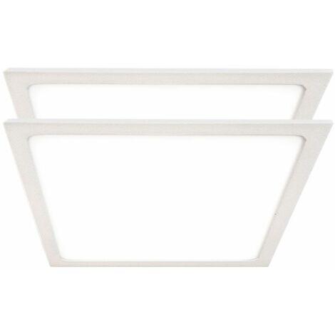 Juego de 2 focos LED de techo Luminaria de superficie Panel blanco Sala de estar Iluminación de oficina Lámpara ALU