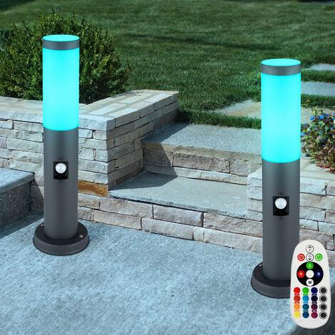 Juego de 2 lámparas de pie balcón SENSOR acero inoxidable Lámparas base antracita DIMMABLE en un juego que incluye lámparas LED RGB