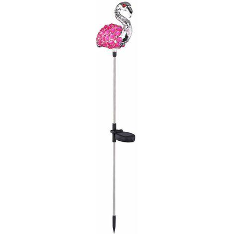 Juego de 2 LED Solar Jardín Enchufe Fixture Flamingo Pink Black Lamp Yard Lighting Animal Figurine
