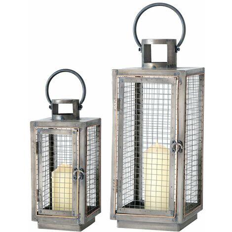 Juego de 2 linternas, sala de estar, comedor, luces colgantes de pie, candelabros de celosía de hierro, lámparas de decoración