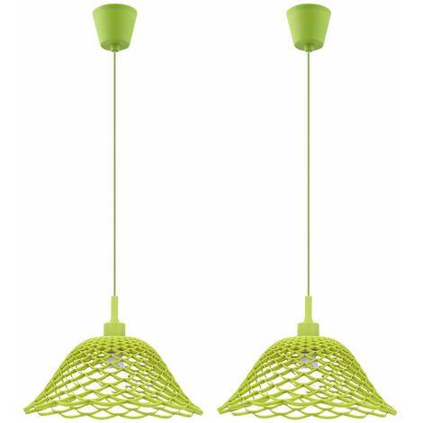 Juego de 2 luces colgantes de techo de malla LED verde comedor cocina iluminación diseño lámparas colgantes