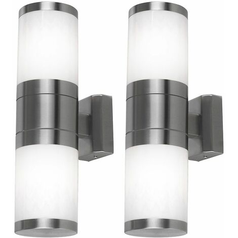 Juego de 2 luces de pared para exteriores RGB LED Up Down regulables CONTROL REMOTO lámparas de jardín de balcón de acero inoxidable