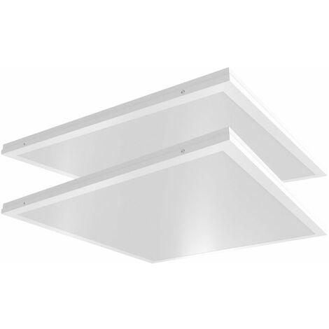 Juego de 2 luces de techo LED de una estructura panel de rejilla iluminación de oficina luz diurna lámparas ALU blancas