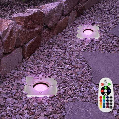Juego de 2 luces exteriores planta del jardín luces del punto de control remoto conjunto incl. Lámparas LED RGB