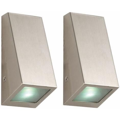 Juego de 2 luces LED de pared de acero inoxidable iluminación de jardín focos de fachada exterior lámpara de patio plateada