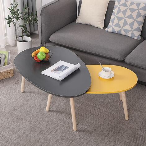 Juego de 2 Mesas auxiliares mesa de centro mesa de salón 98x60x40cm Diseño moderno
