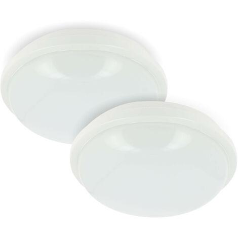 Lote de 2 ojos de buey o LED de techo para exteriores IP65 redondo 20W | Temperatura de color: 4000K blanco neutro