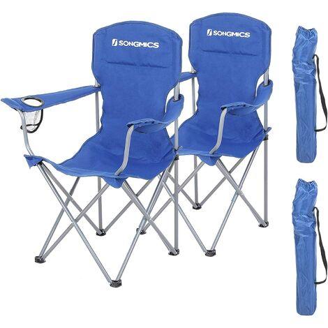 Juego de 2 Sillas de Camping Plegables, Estructura Confortable y Resistente, Máx. Capacidad de Carga 150 Kg, con Portavasos, Silla para Exterior Negra/Azul