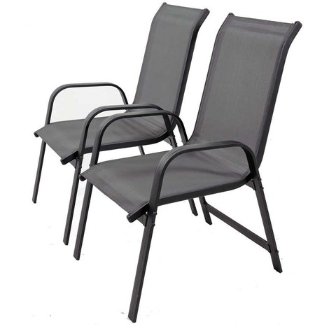 Juego de 2 sillas para jardin textileno Porto- Phoenix - gris oscuro