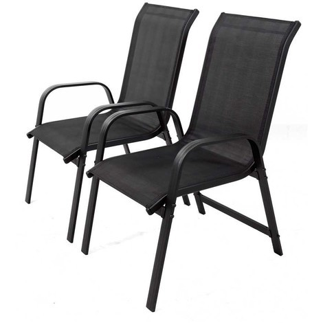 Juego de 2 sillas para jardin textileno Porto- Phoenix - negro