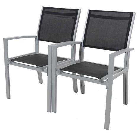 Juego de 2 sillas para jardín- textileno Tropic - Phoenix - negro