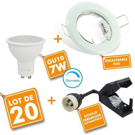 Juego de 20 puntos LED empotrable completamente blanco fijo con bombilla GU10 7W regulable