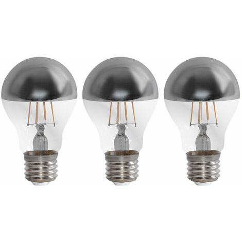Juego de 3 bombillas LED Lámparas retro de cabeza con filamento retro. 4W E27 bombillas incandescentes resplandor EEK A ++