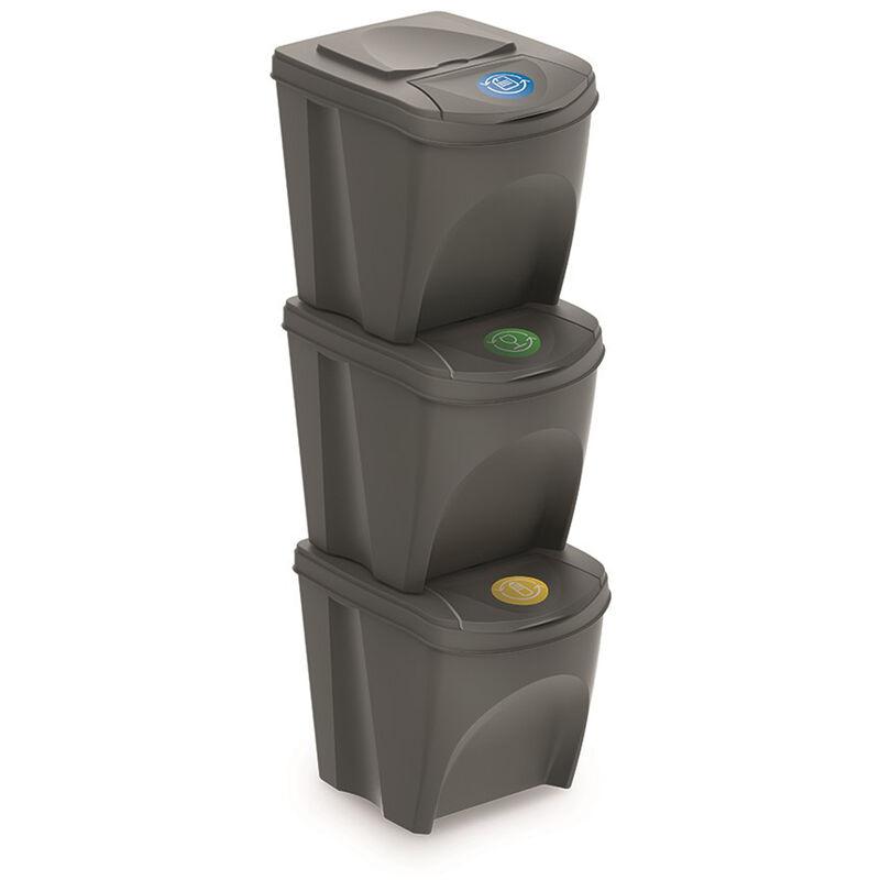 Juego de 3 cubos de reciclaje con capacidad de 75 litros de compartimento en color gris - PROSPERPLAST