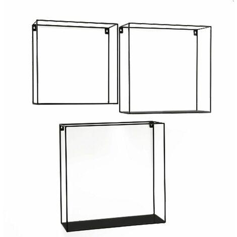 Juego de 3 estantes de pared para sala de estar, decoración de hierro, almacenamiento, diseño de cubo cuadrado, estante negro