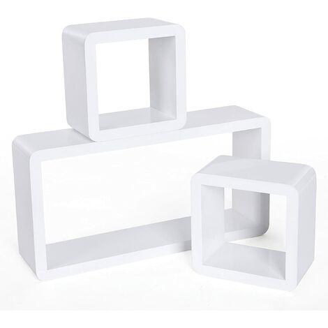 Juego de 3 estantes para libros CDs Estanterías de pared Cubos retro Blanco LWS102