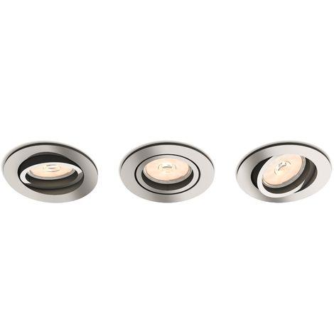 Juego de 3 Focos Empotrables Philips Donegal Circular Cromado GU10 | Sin Bombilla/Ver Accesorios (PH-8718696160923)