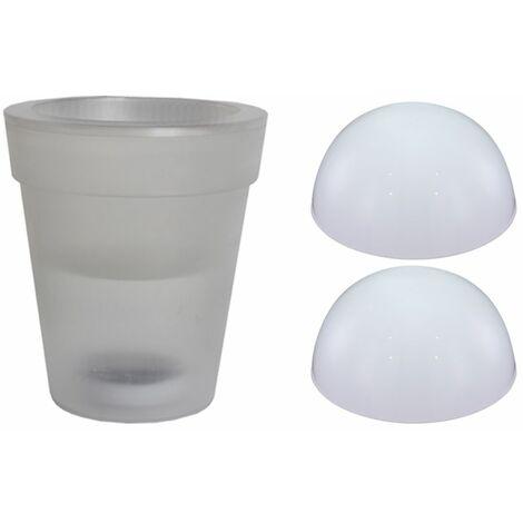 Juego de 3 focos solares LED Luces de media bola Focos de macetas Patios al aire libre Soporte Luminaria Blanco