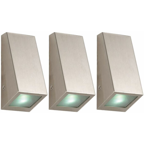 Juego de 3 luces LED de pared de acero inoxidable lámparas de jardín de fachada iluminación exterior focos de entrada de patio