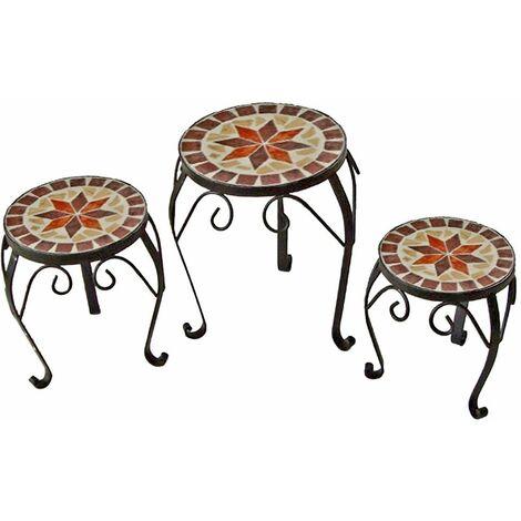 Juego de 3 Mosaico de Flores Taburete Mesa de Estantería de Metal Acero Negro Pintado Harms 504890