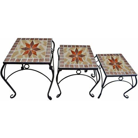 Juego de 3 Mosaico de Flores Taburete Mesa de Estantería Metal Acero Negro Pintado Harms 504889