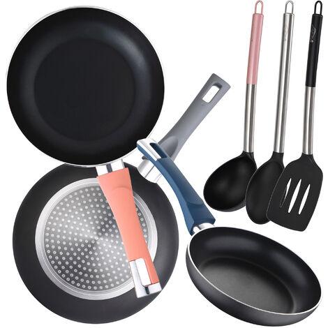 Juego de 3 sartenes (18,20,24cm) en aluminio prensado BERGNER con 3 utensilios de cocina en nylon