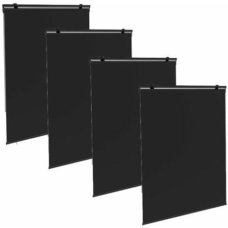 """main image of """"Juego de 4 estores enrollables universales de exterior HOUSTON 120 x 225 cm gris con ganchos ajustables"""""""
