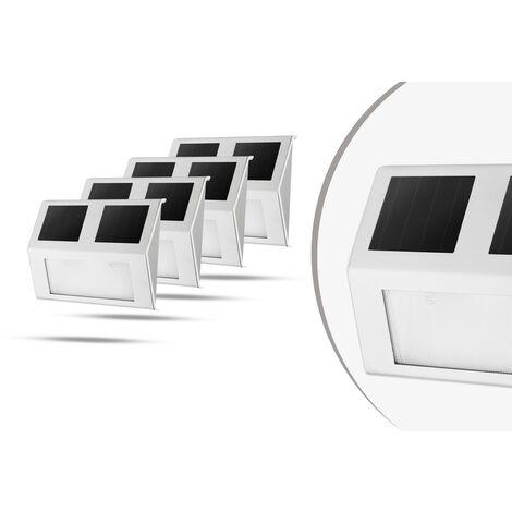 Juego de 4 Focos Solares LED Impermeables, color Gris, Acero Inoxidable, 140 x 95 mm