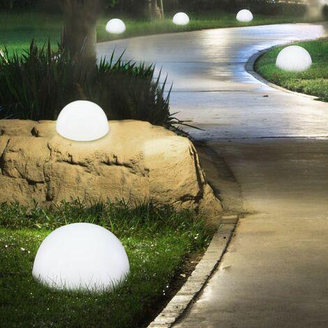 Juego de 4 Lámparas LED para exteriores, de medio ambiente, diseño de balones, luces de piso para pared, jardín, balcón, iluminación de césped