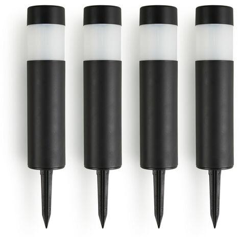 """main image of """"Juego de 4 Postes de Luz Solar LED para Exteriores, color Negro, Plástico Duro, 270 mm + 120 mm en el suelo x Ø 50 mm"""""""