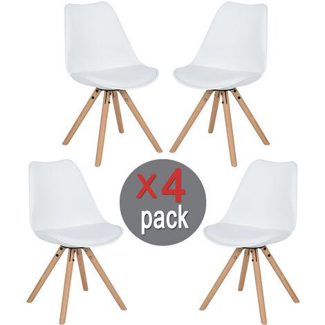 Juego de 4 sillas blanco,de madera haya,Silla de cocina con respaldo