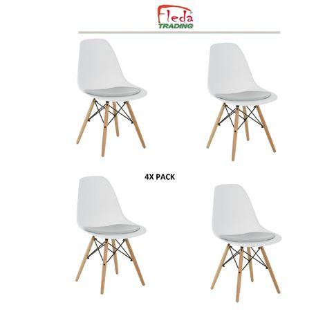 Juego de 4 sillas Eiffel modelo PP con cojín acolchado blanco