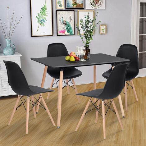 Juego de 4 sillas ,Sillón de Comedor Sillas Nordic Escandinava,Color negro