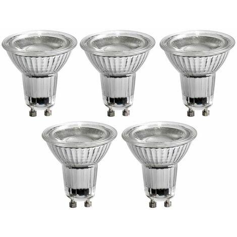 Juego de 5 bombillas LED Bombillas GU10 Luces de 5 vatios Reflector de 345 lúmenes 3000K EEK A +