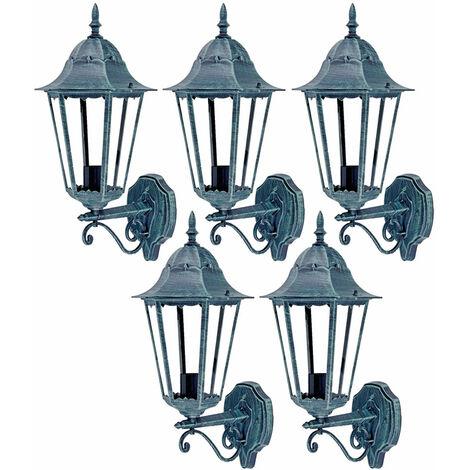 Juego de 5 faroles de pared LED Iluminación exterior de jardín Fachadas ALU Focos Lámparas de vidrio Patio
