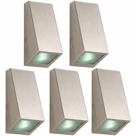 Juego de 5 Lámparas de pared de acero inoxidable LED Fachadas Proyectores Puerta de la casa Iluminación exterior Luces de jardín
