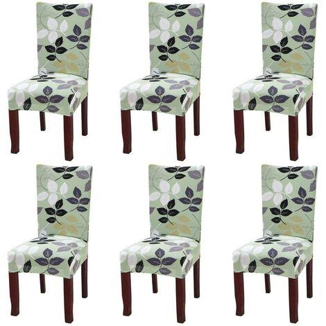 Juego de 6 fundas elásticas universales para silla de comedor verde