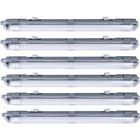 Juego de 6 lámparas LED para techos de techo Húmedas -Room Sótano Industrial Lámparas para talleres