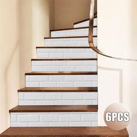 Juego de 6 piezas de calcomanías adhesivas 3D geométricas para escaleras, decoración del hogar, 18x100 cm, blanco