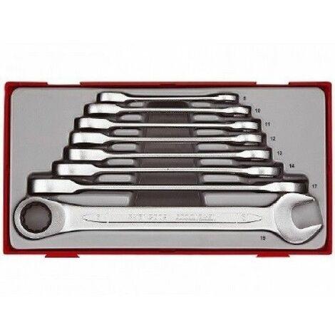 Juego de 8 llaves combinadas con carraca articuladas, métricas TENGTOOLS TT6508RS